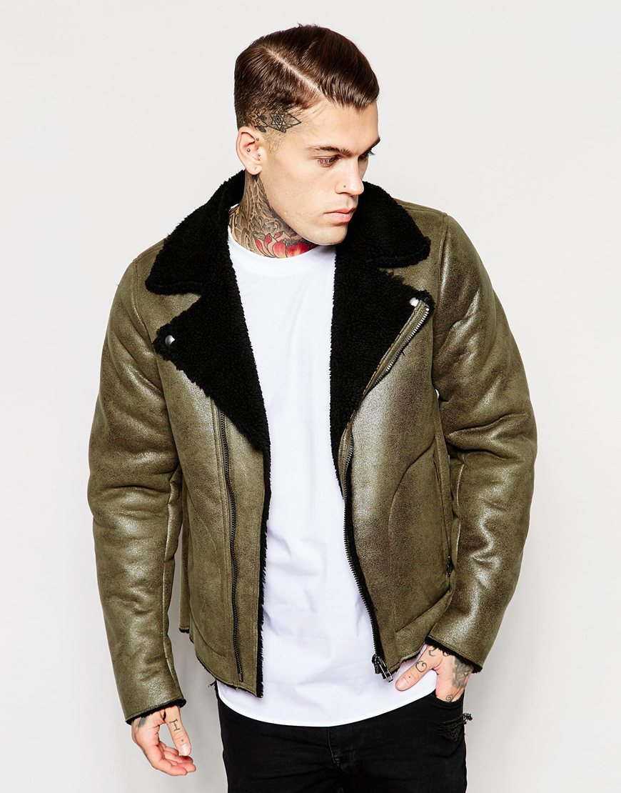 Asos Faux Shearling Jacket In Olive in Green for Men | Lyst