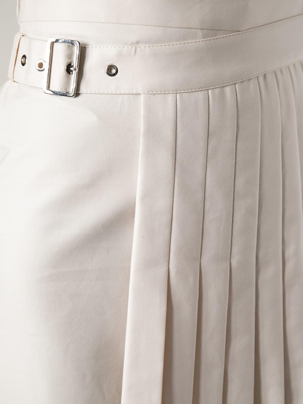 c710010428 Ferragamo Wrap Around Pleated Skirt in Natural - Lyst