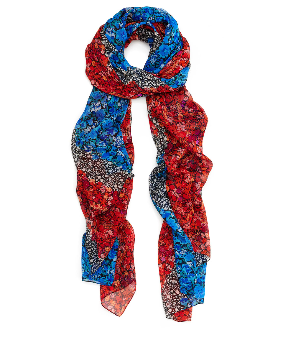 liberty lime winter printed jacquard scarf in blue lyst