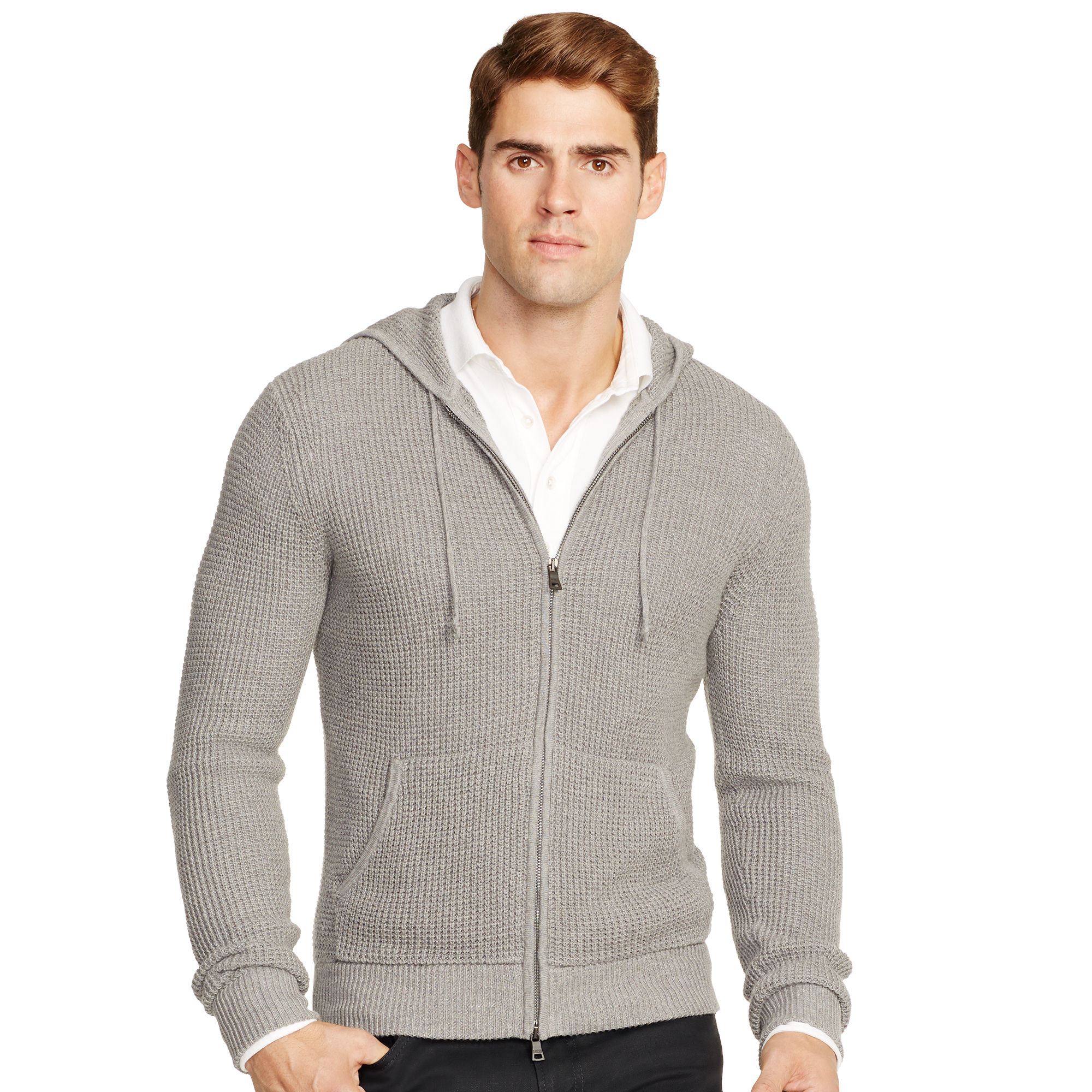 polo ralph lauren slim cotton cashmere hoodie in gray for. Black Bedroom Furniture Sets. Home Design Ideas