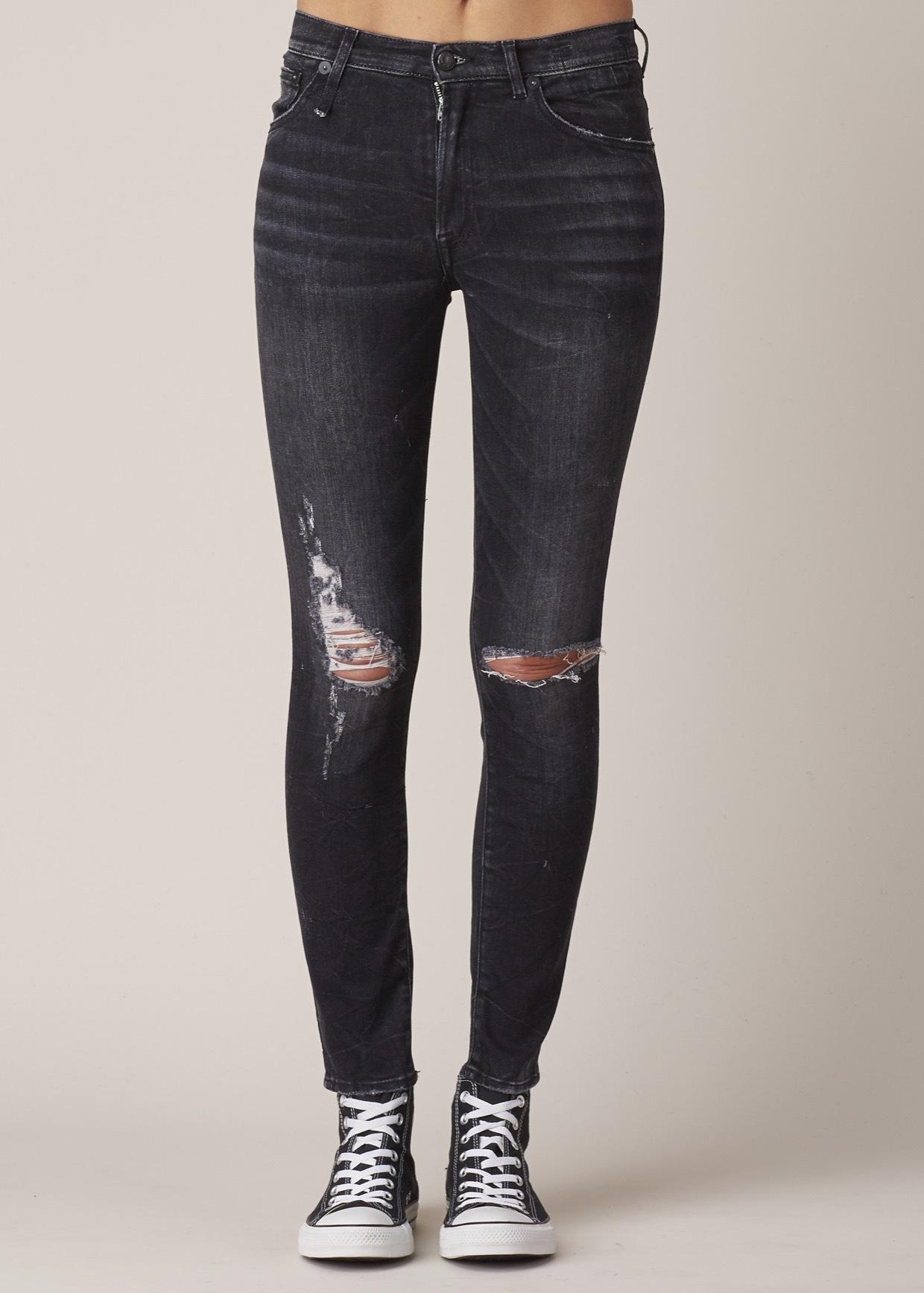 R13 skinny jeans black marble