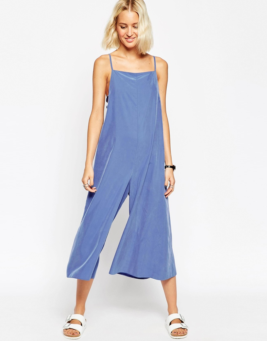 5c622143c85 Lyst - Asos Jumpsuit With Multi Strap Cut Out in Blue