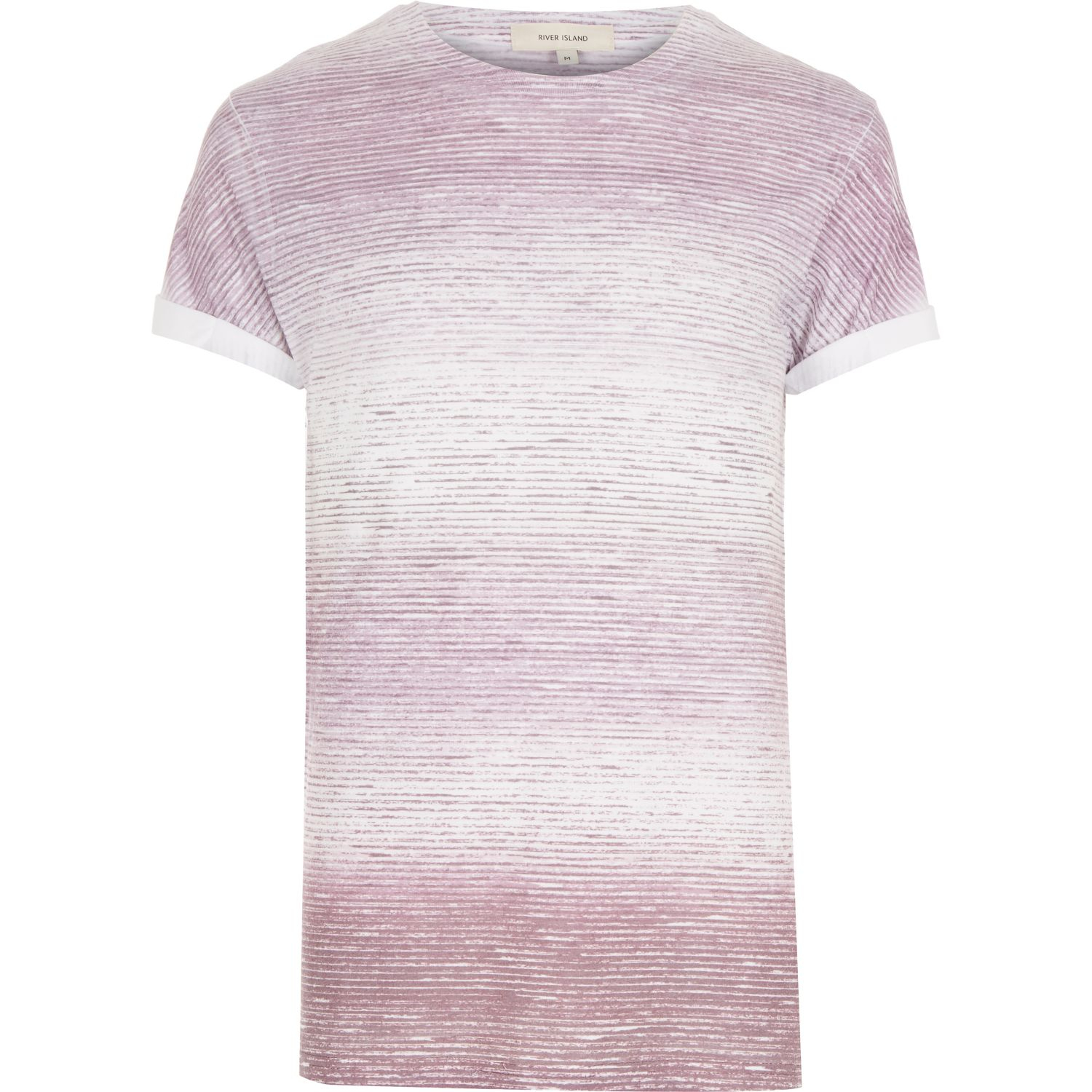 River island white and red faded stripe t shirt in purple for Faded color t shirts