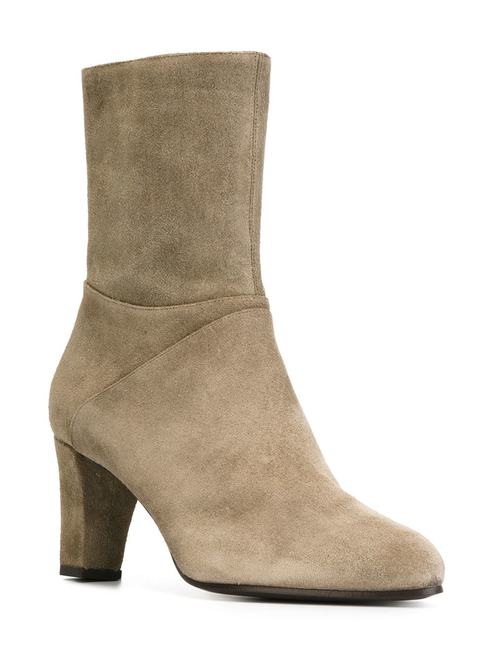 carritz block heeled suede ankle boots in gray grey lyst. Black Bedroom Furniture Sets. Home Design Ideas