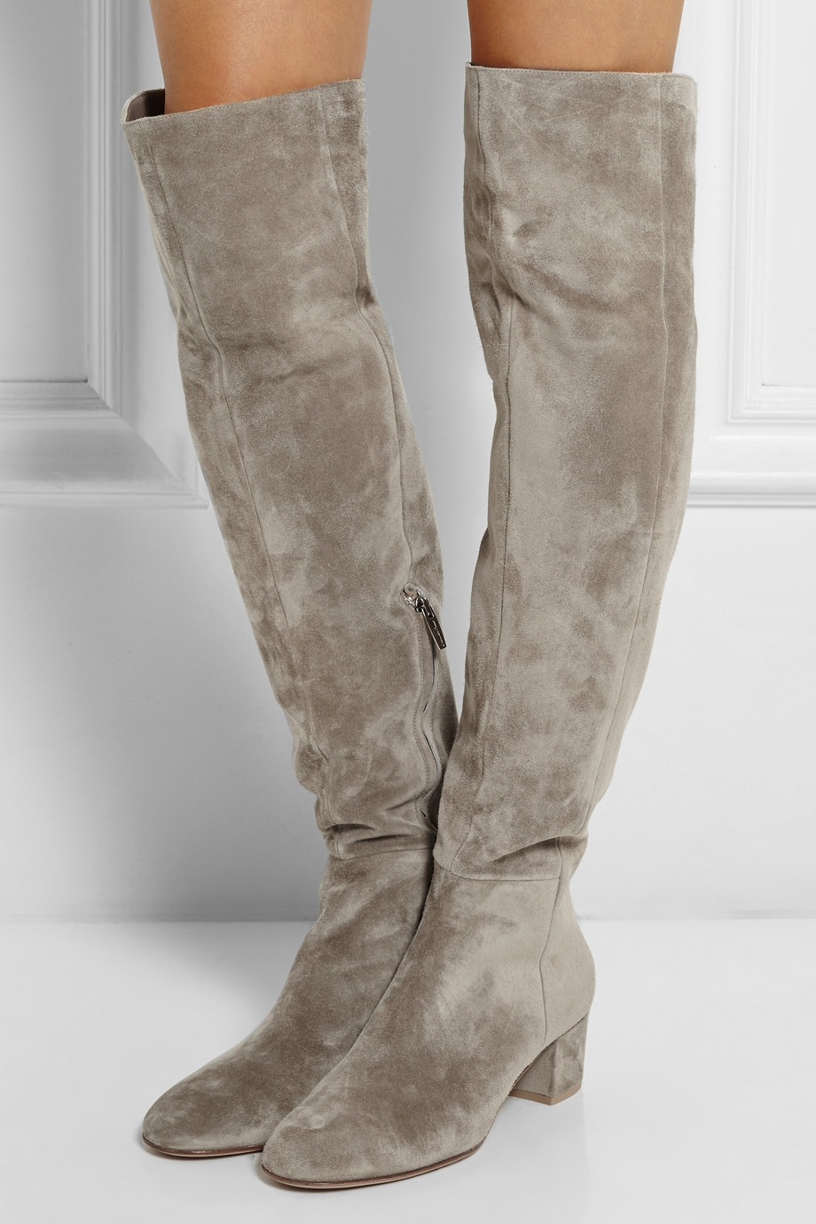 gianvito rossi suede over the knee boots in gray lyst. Black Bedroom Furniture Sets. Home Design Ideas
