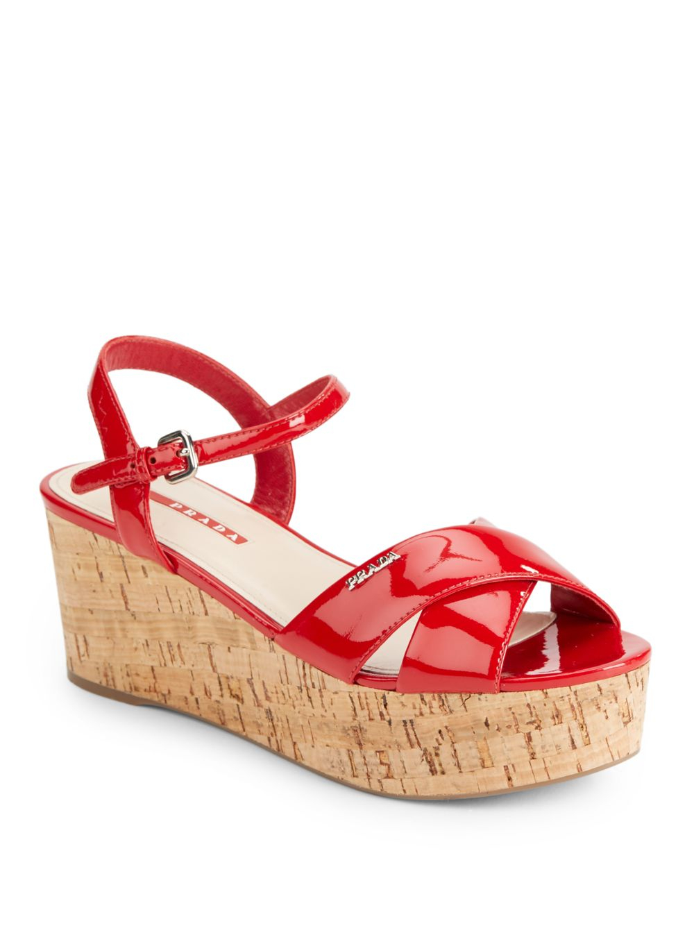 221ed48e9a1e Lyst - Prada Patent Leather Cork Wedge Sandals in Red