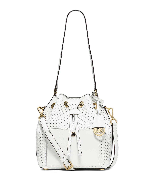 4205bfd5ff0319 MICHAEL Michael Kors Greenwich Medium Perforated Saffiano Bucket Bag ...