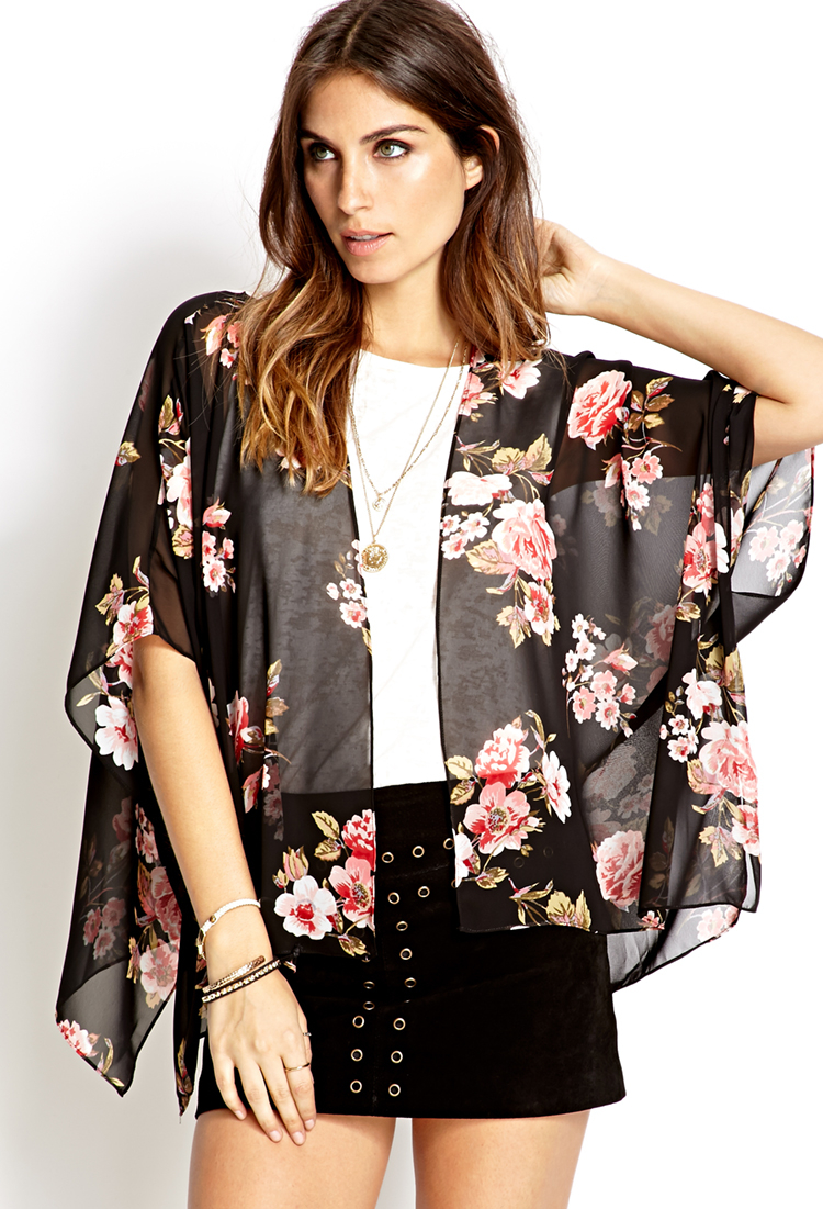 Forever 21 Cherry Blossom Woven Kimono in Black - Lyst
