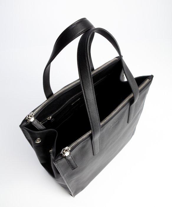 Prada Black Leather Top Handle Travel Bag in Black for Men | Lyst