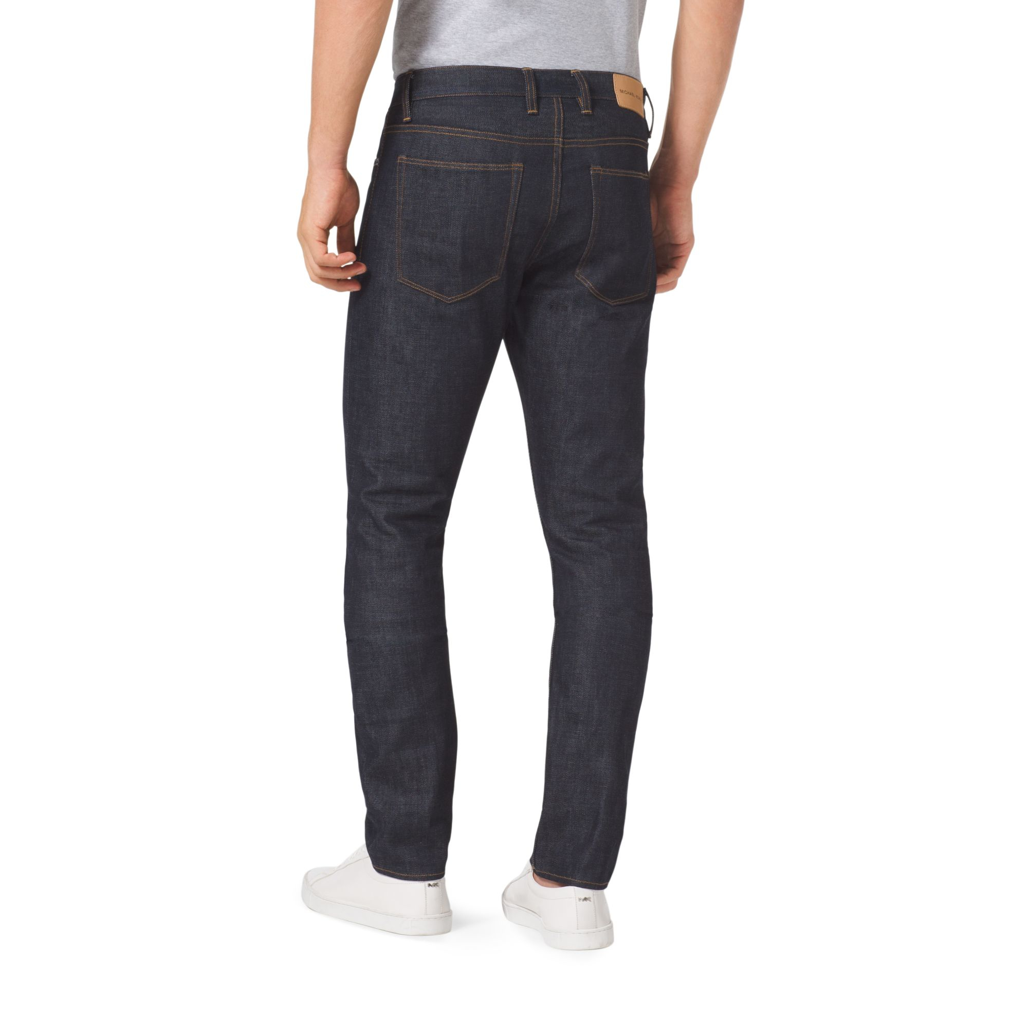 michael kors slim fit selvedge jeans in blue for men lyst. Black Bedroom Furniture Sets. Home Design Ideas