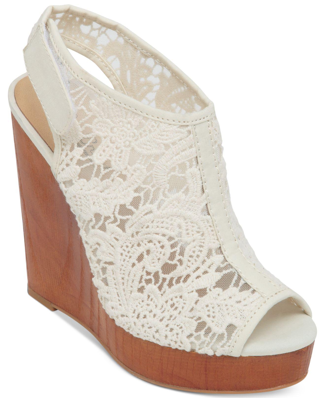 ca6940d15fc Lyst - Lucky Brand Women s Rezdah2 Crochet Platform Wedge Sandals in ...