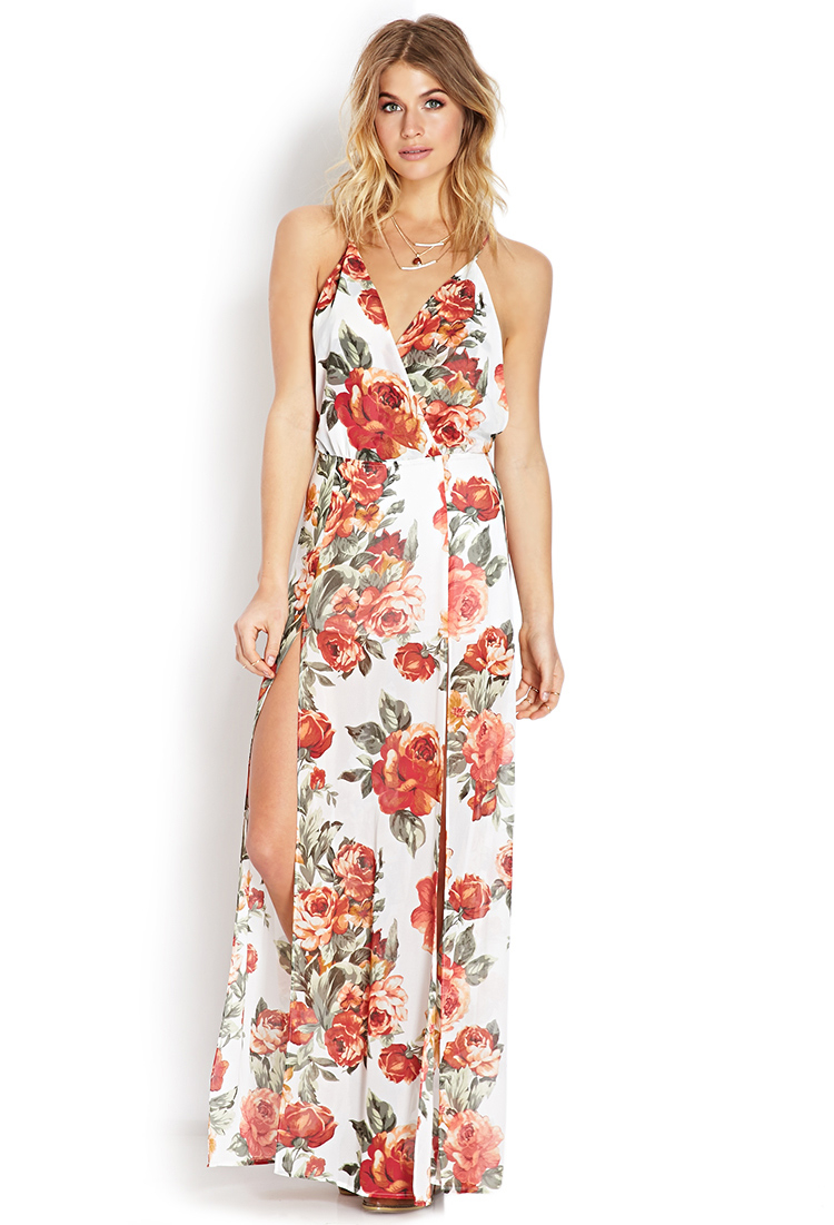 Lyst Forever 21 Floral Print Keyhole Dress In Natural