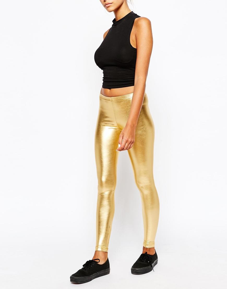 9e3de9c29cad Lyst - American Apparel High Rise Leggings In Metallic Gold in Metallic