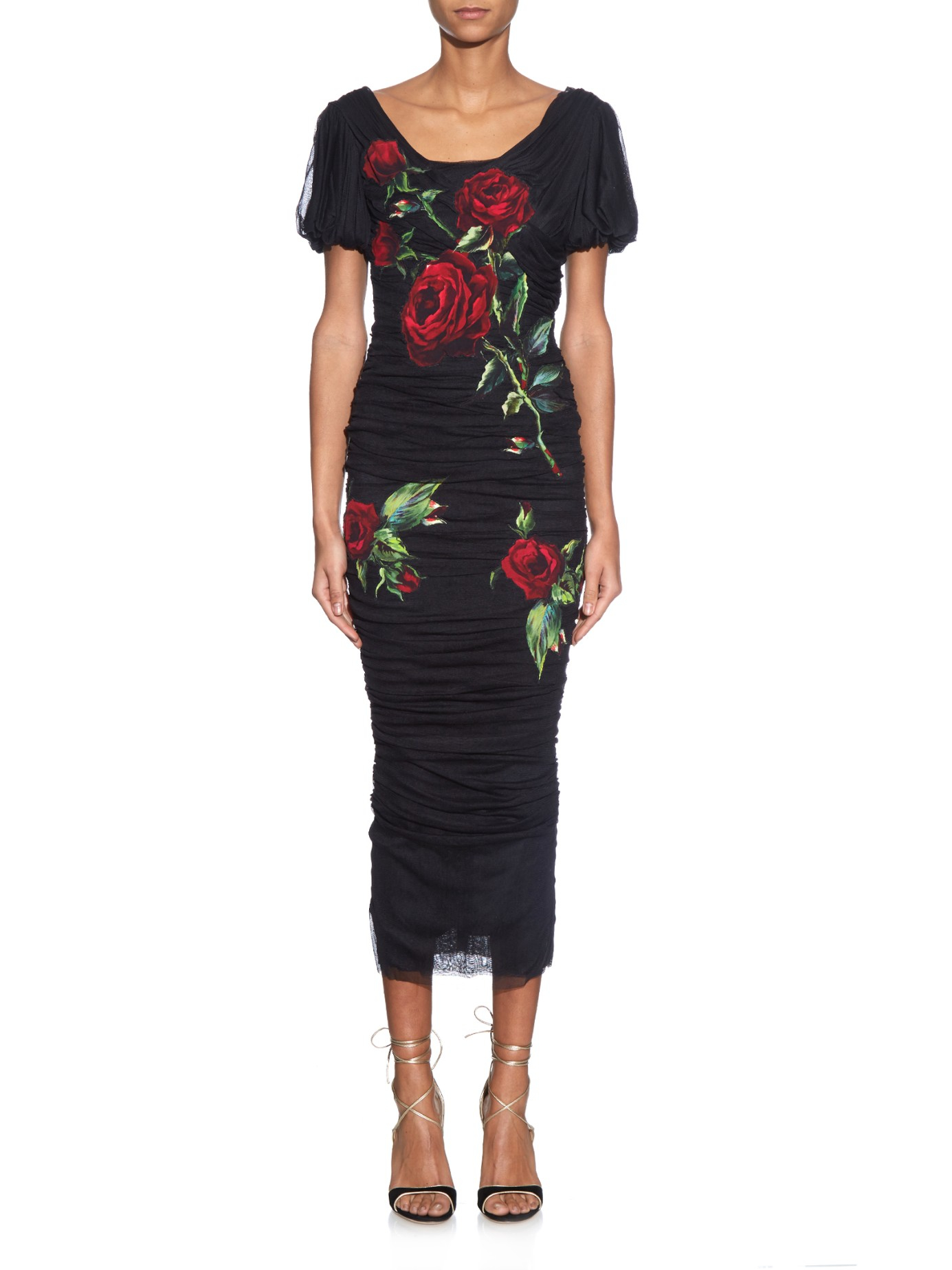 Dolce & Gabbana Rose-embroidered Tulle Dress In Black