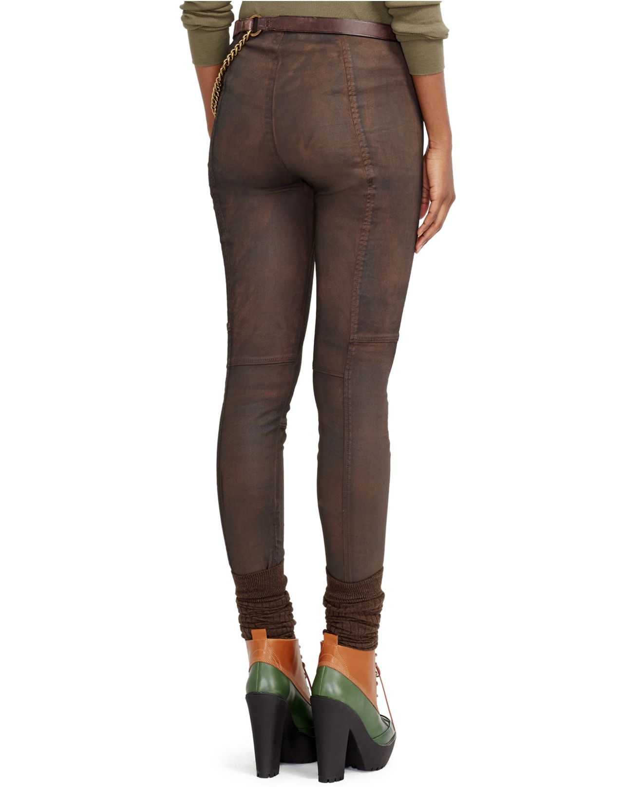 polo ralph lauren pull on denim leggings in brown lyst. Black Bedroom Furniture Sets. Home Design Ideas