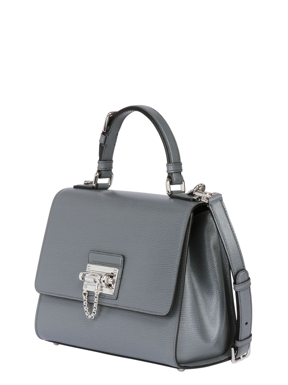 40bca8bc45 Dolce   Gabbana Monica Embossed Leather Top Handle Bag in Gray - Lyst