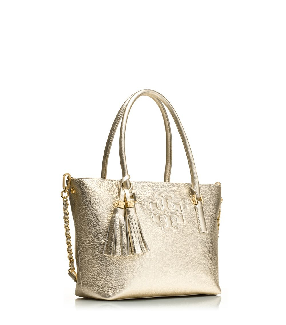 9566b277be2 Lyst - Tory Burch Thea Metallic Small Convertible Tote in Metallic