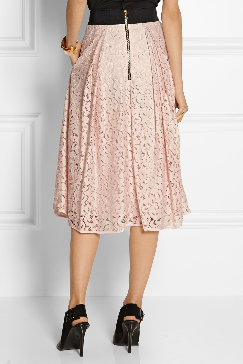 Milly Floral-Lace Midi Skirt in Pink | Lyst
