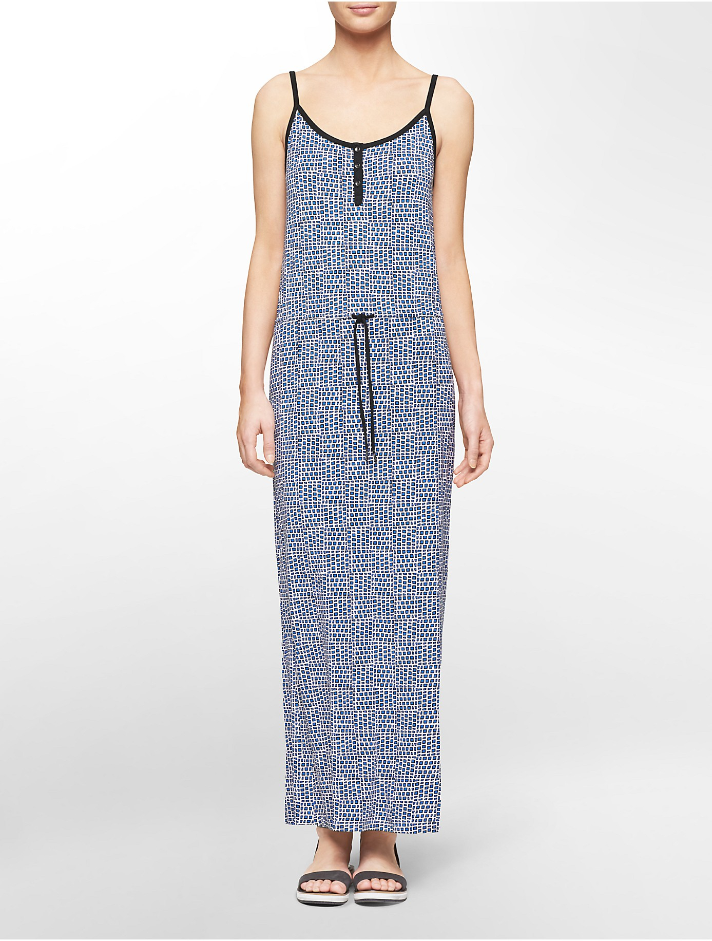 Lyst calvin klein jeans square print cinched waist maxi for Calvin klein jardin collection