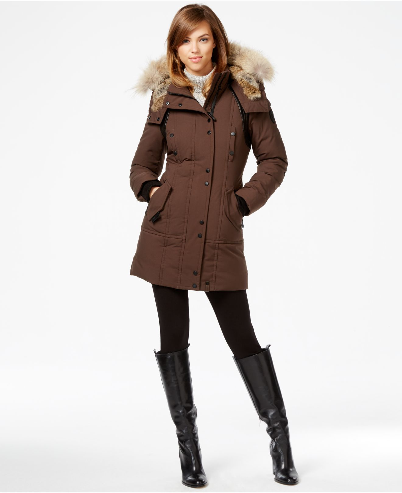 Rudsak Real-fur-trim Leather-trim Coat in Brown | Lyst