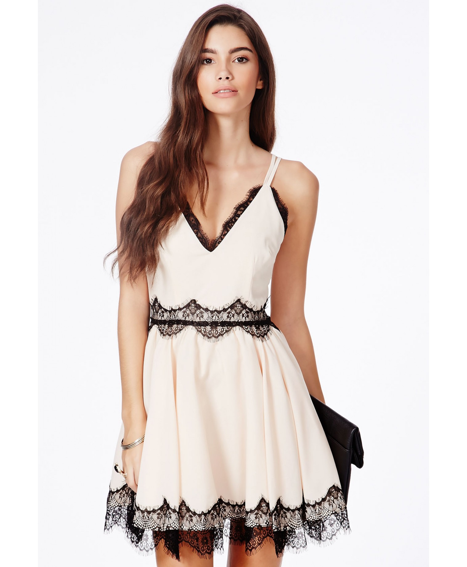 Lyst - Missguided Berneen Nude Puffball Skater Dress With Eyelash ... 33b9106a6