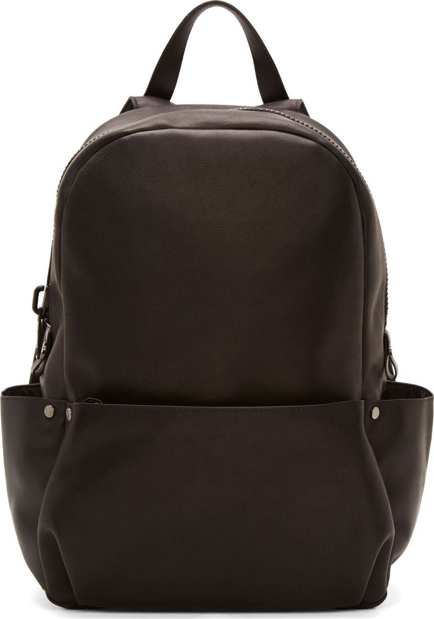 Lyst Calvin Klein Black Leather Oversized Zip Backpack