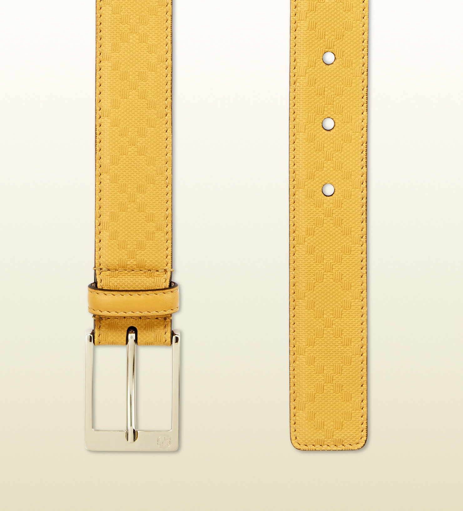 gucci leather belt with square buckle in yellow lyst