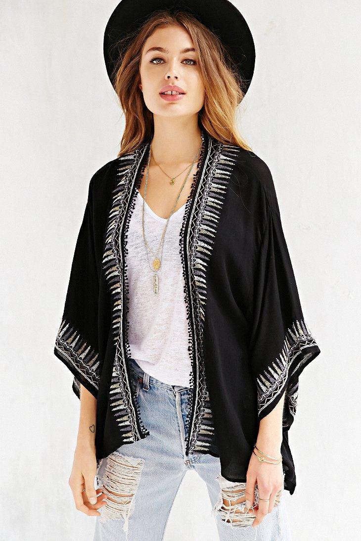 Ecote Embroidered Kimono Jacket in Black | Lyst