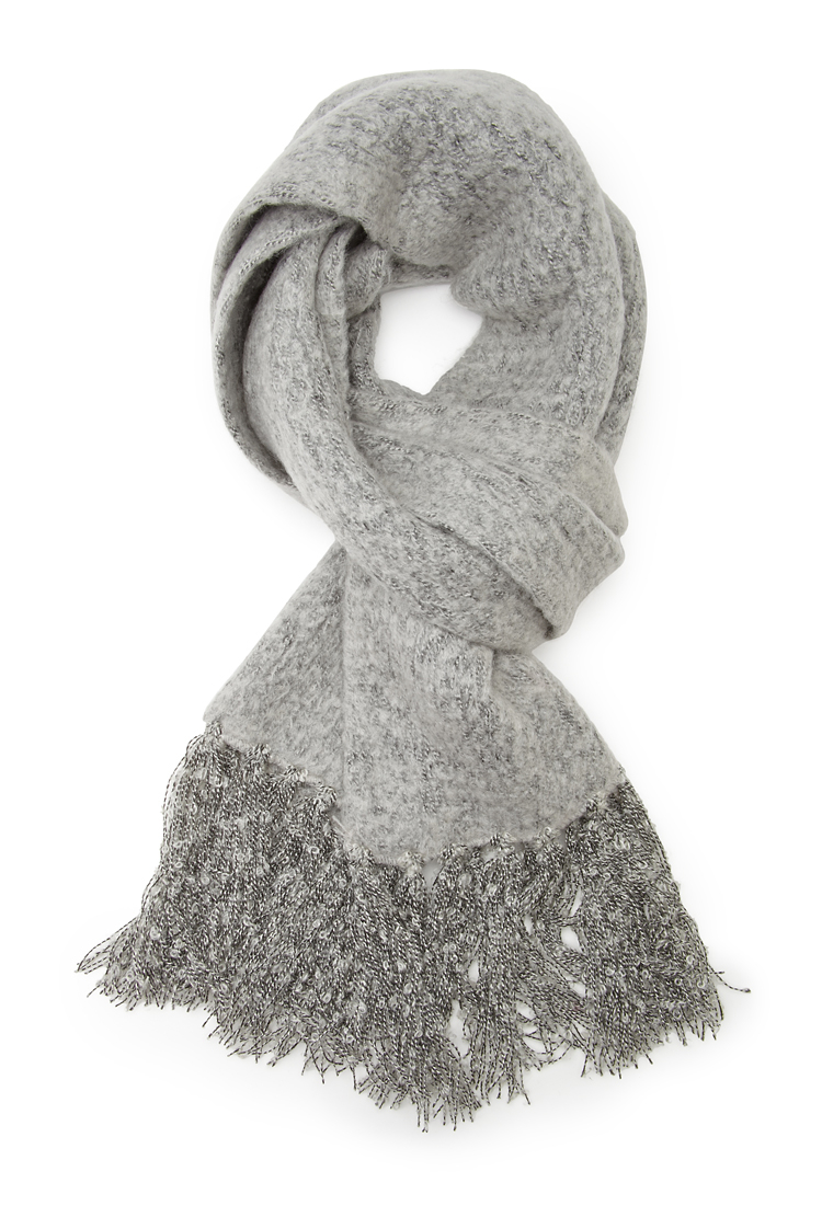 Forever 21 Fuzzy Knit Oblong Scarf in Gray | Lyst