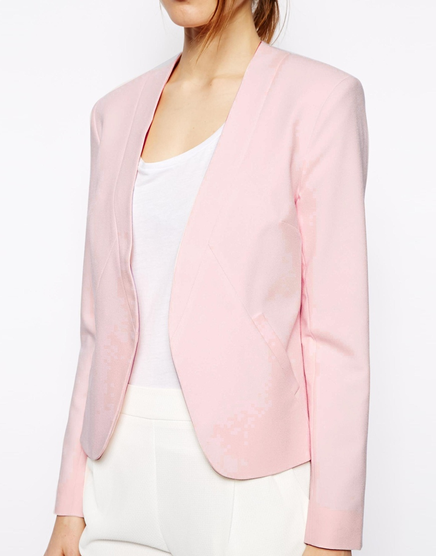 Asos Cropped Blazer with Clean Lapel in Pink | Lyst