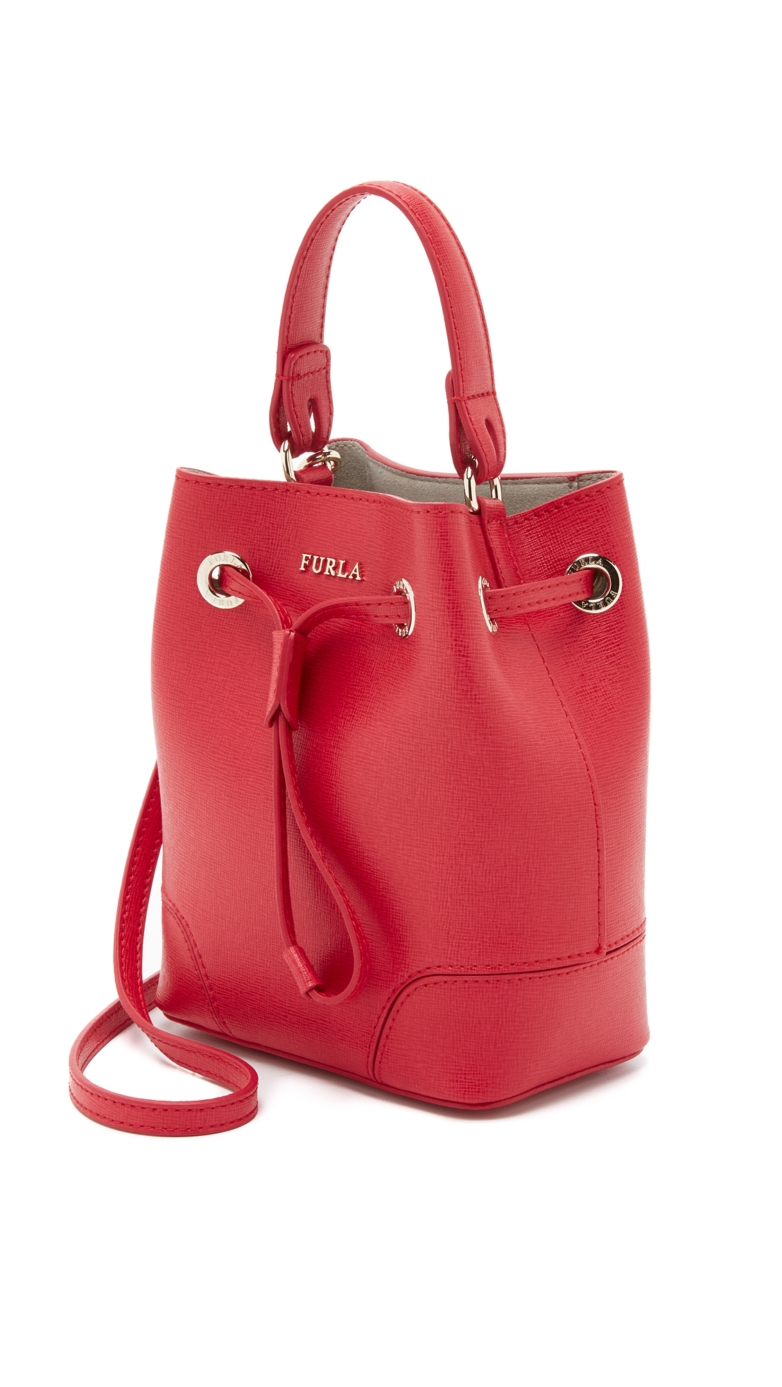 Furla Stacy Mini Drawstring Bucket Bag in Red | Lyst