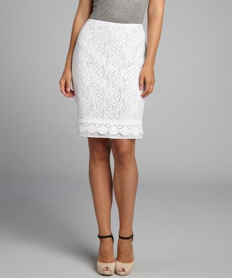 tracy white lace pencil skirt in white pearl lyst