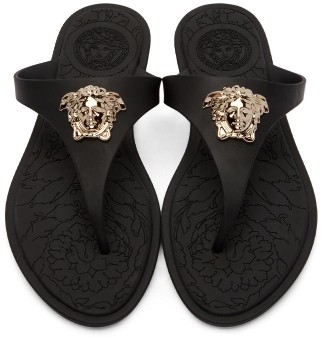 7c1163e90829 Lyst - Versace Medusa Rubber Flip-Flops in Black