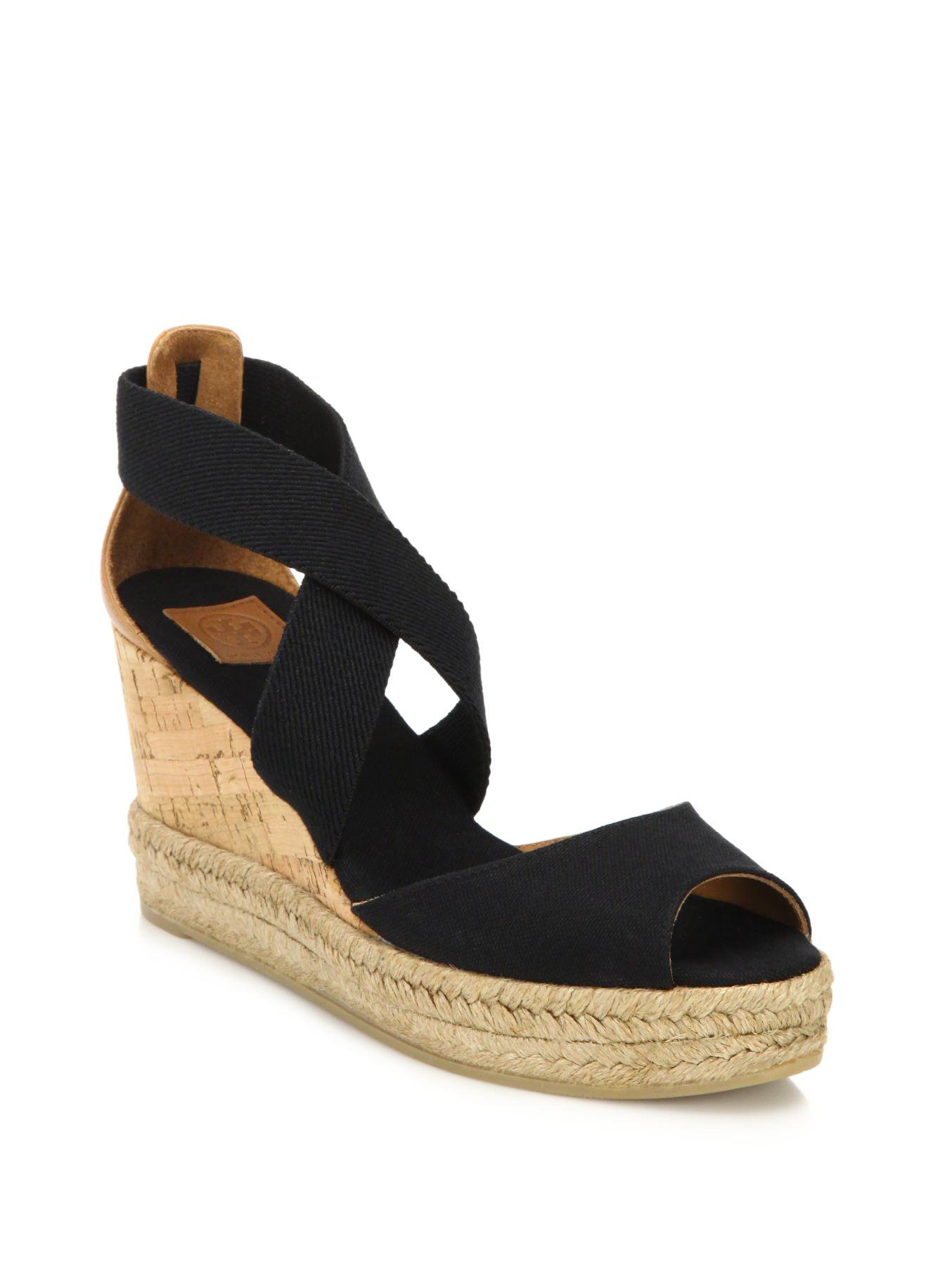 8e9155ef1 Lyst - Tory Burch Canvas   Cork Espadrille Wedge Sandals in Black