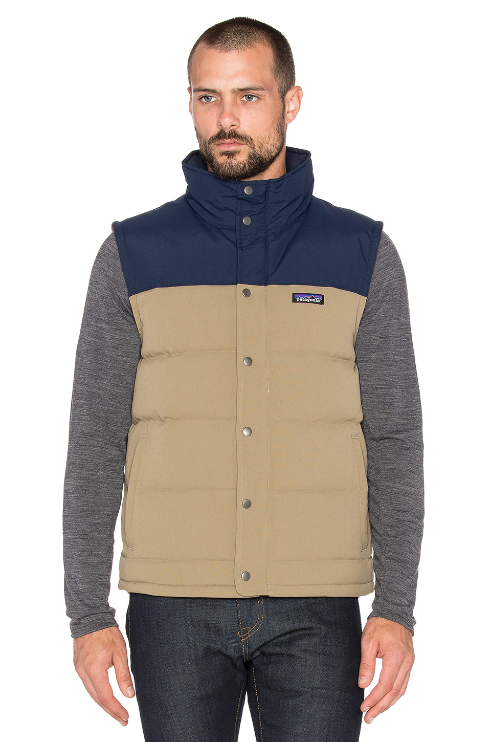 Lyst patagonia bivy down vest in natural for men for Patagonia men s recycled down shirt jacket
