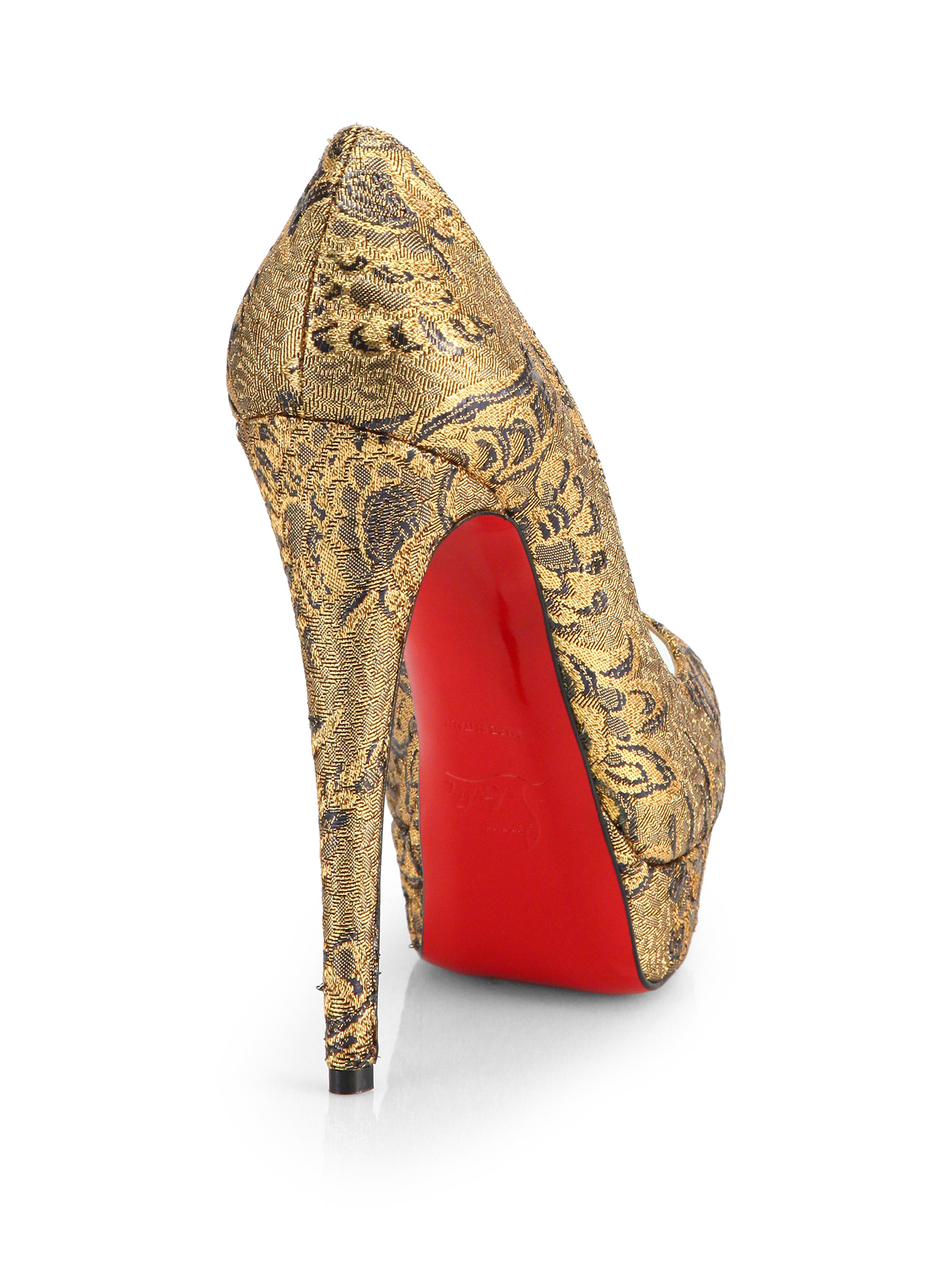 Christian louboutin Lady Peep Brocade Platform Pumps in Beige ...