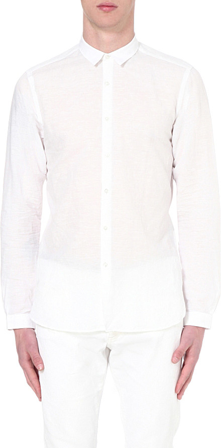 The Kooples Slim Fit Linen And Cotton Blend Shirt In White
