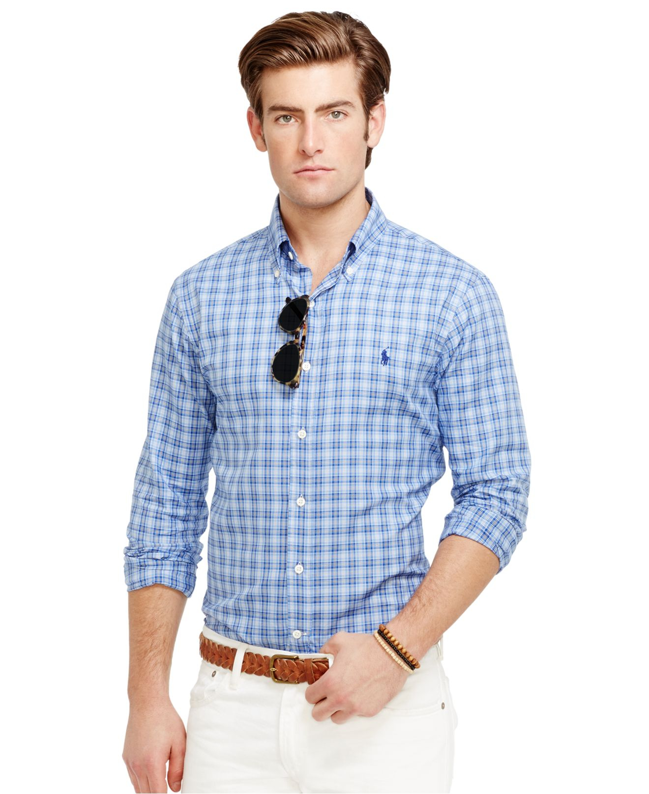 Polo ralph lauren slim fit plaid oxford shirt in blue for for Slim fit collared shirts