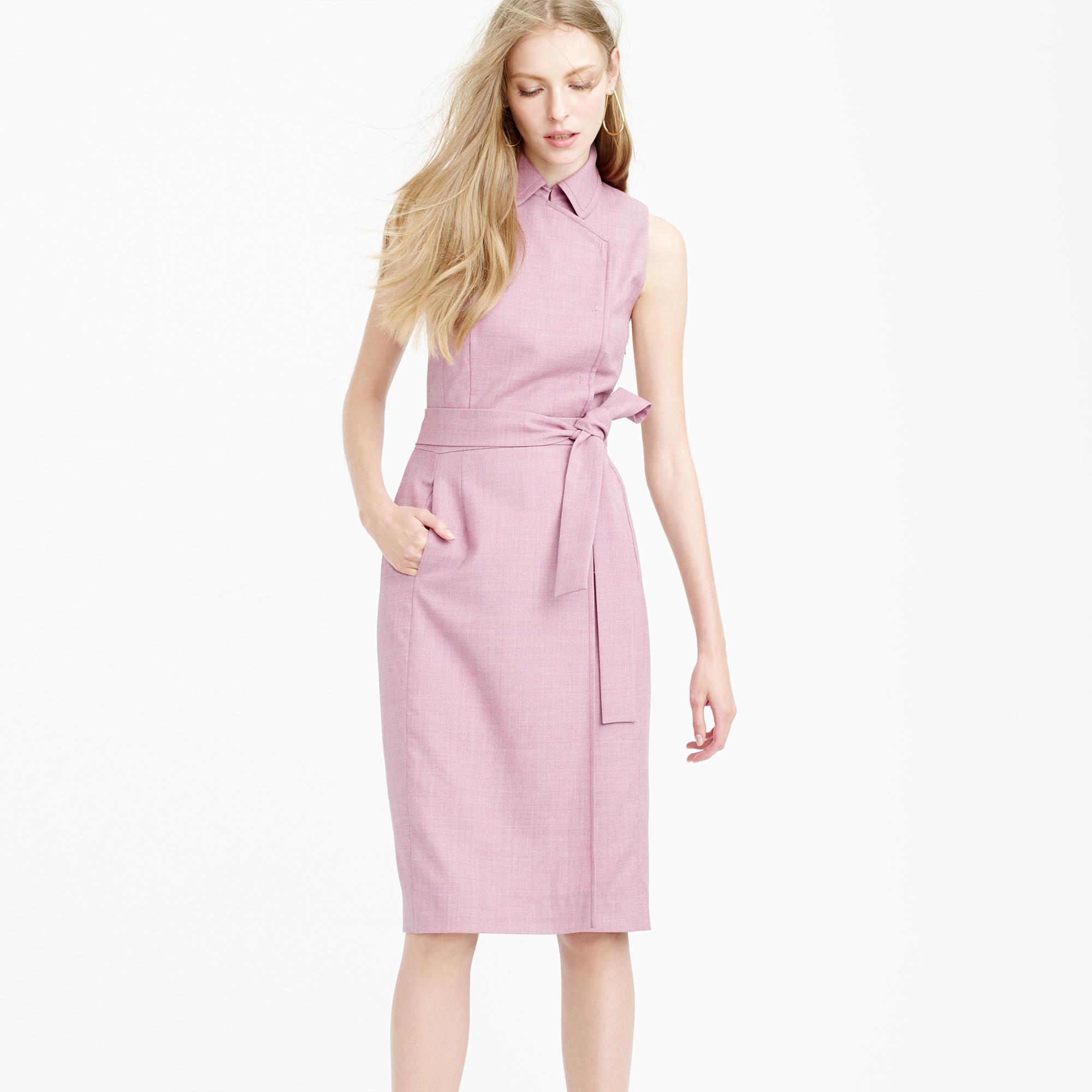 J Crew Faux Wrap Trench Dress In Super 120s Wool In Purple