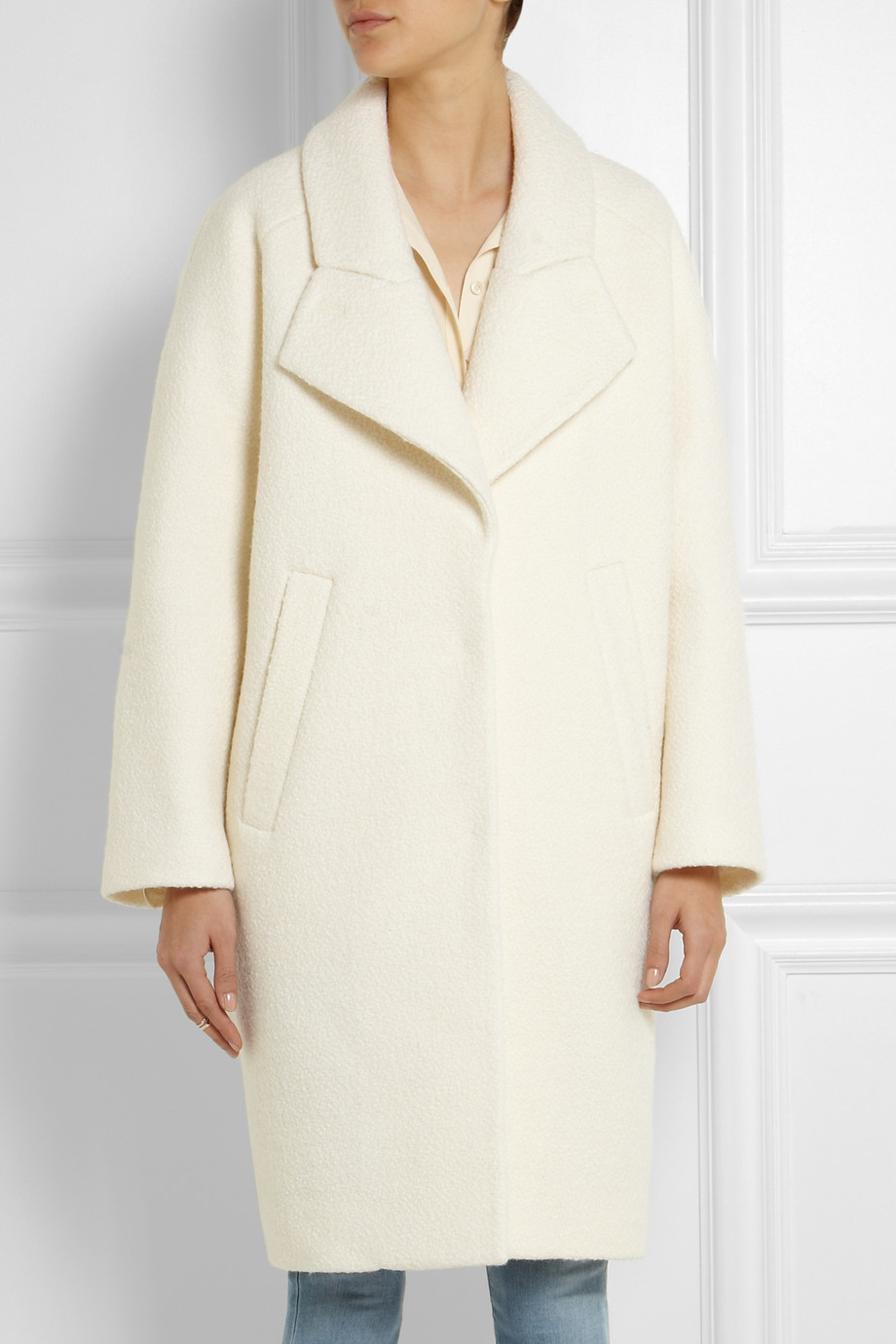Carven Woolbouclé Cocoon Coat in White | Lyst