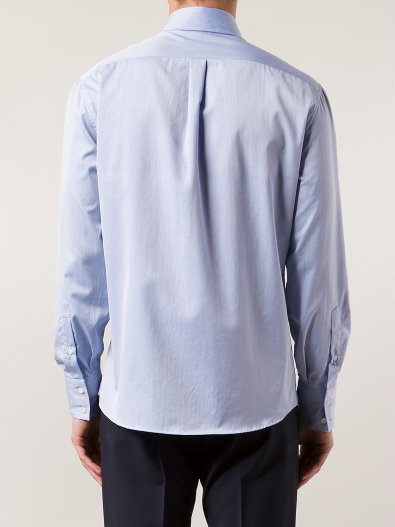 Lyst brunello cucinelli spread collar shirt in blue for men for What is a spread collar shirt