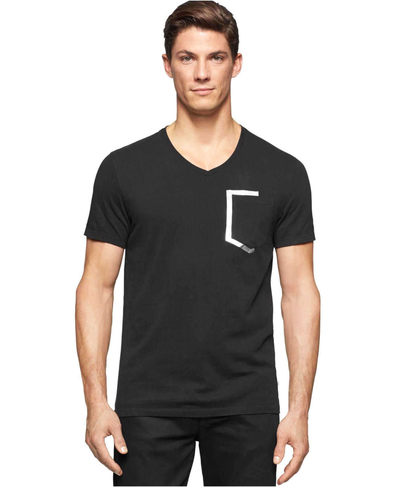 lyst calvin klein foil print t shirt in black for men. Black Bedroom Furniture Sets. Home Design Ideas