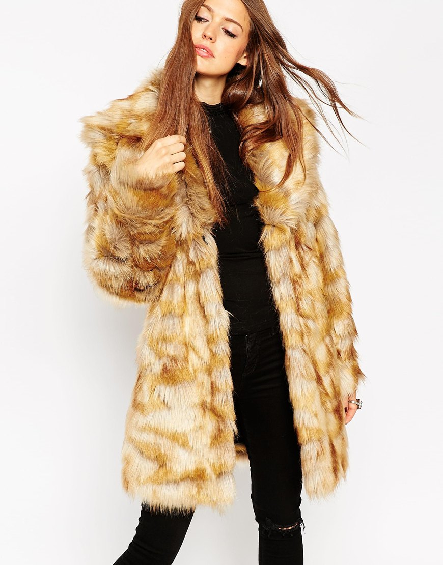 asos coat in pelted vintage faux fur shawl collar in brown lyst. Black Bedroom Furniture Sets. Home Design Ideas