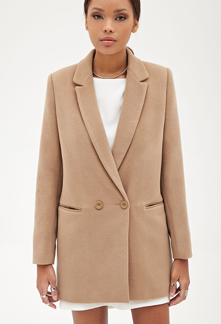 Forever 21 Oversized Classic Blazer In Natural Lyst