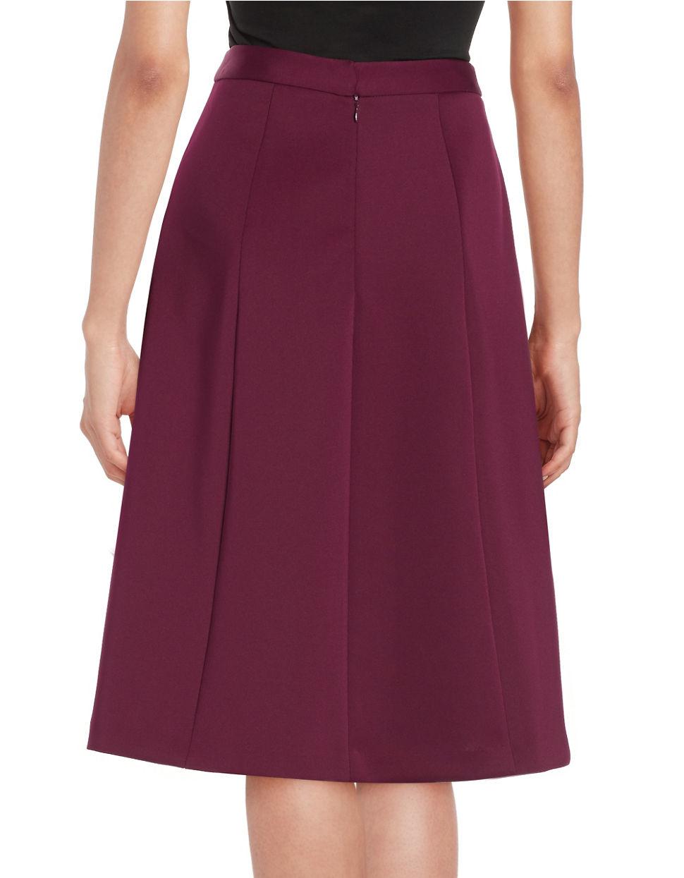 vince camuto pleated midi skirt in purple lyst