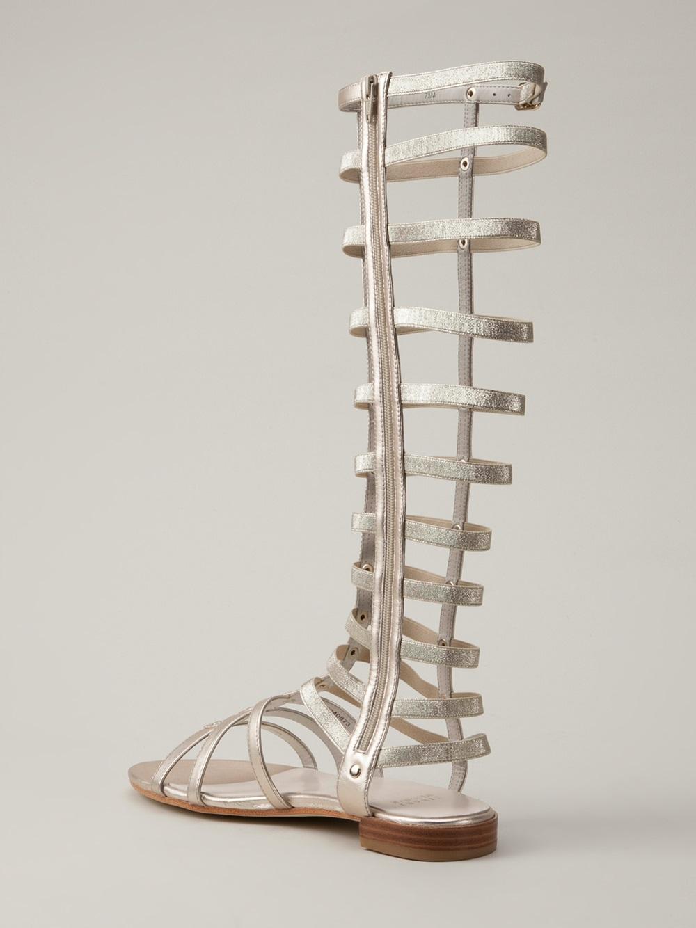 Stuart Weitzman Gladiator Sandals In Metallic Lyst
