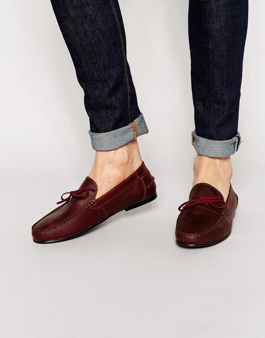 Loafers In Burgundy Leather With Emboss Texture - Burgundy Asos