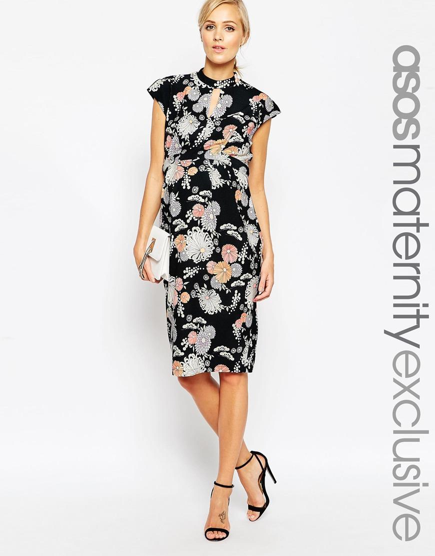 33ee27af8f2 Lyst - ASOS Wiggle Dress In Floral Print in Black