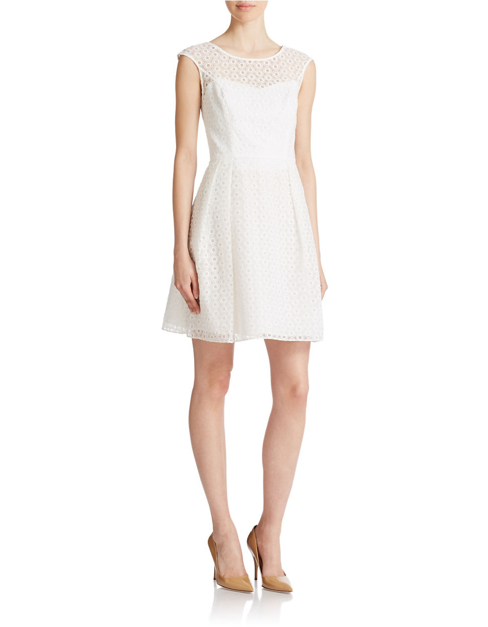 Shoshanna Bibi Eyelet Sweetheart Dress in White  Lyst