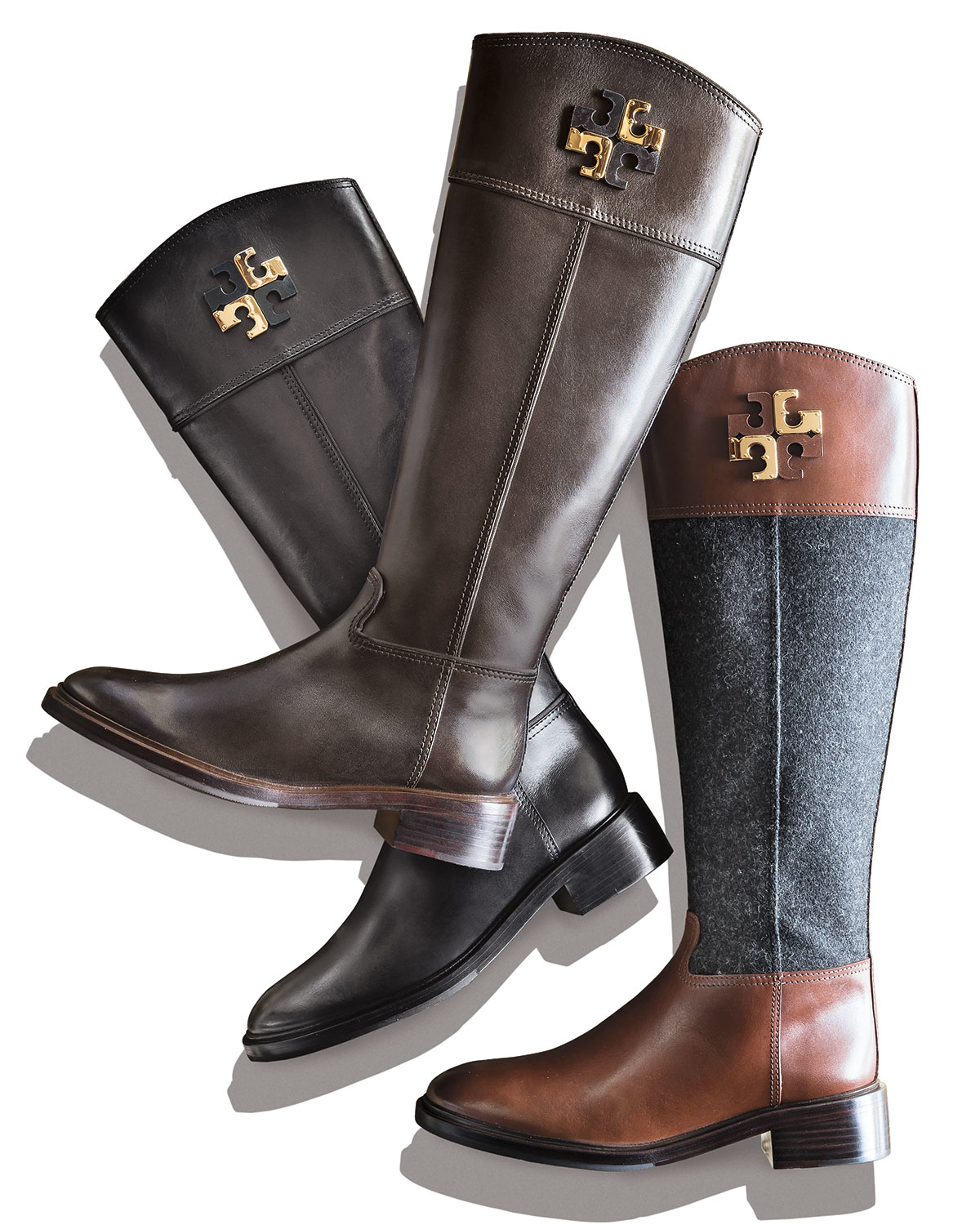 7417893175f ... best lyst tory burch lowell logo riding boot in brown b351f ca122